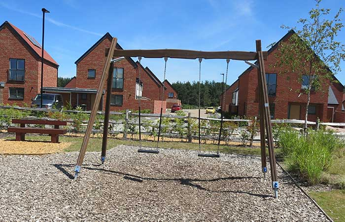 set of swings in playground