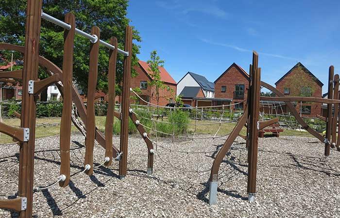 playground climbing frame in housing development