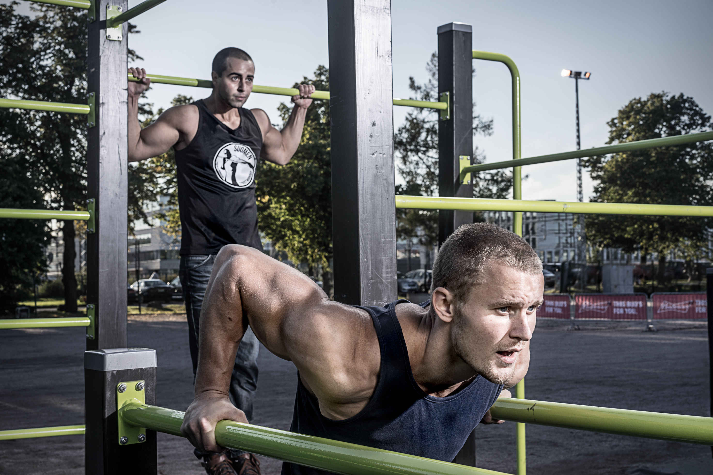 street workout equipment being used