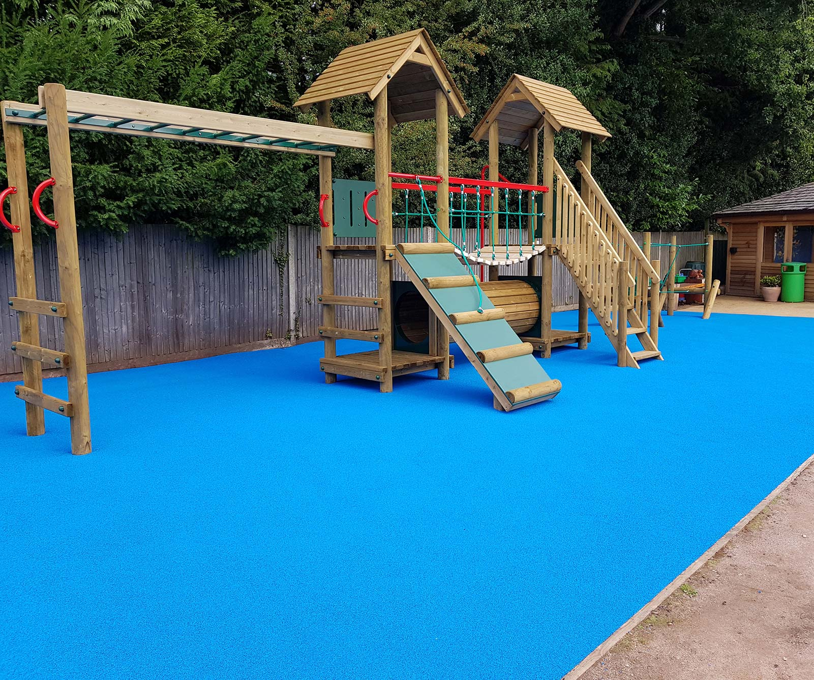blue rubber playground floor
