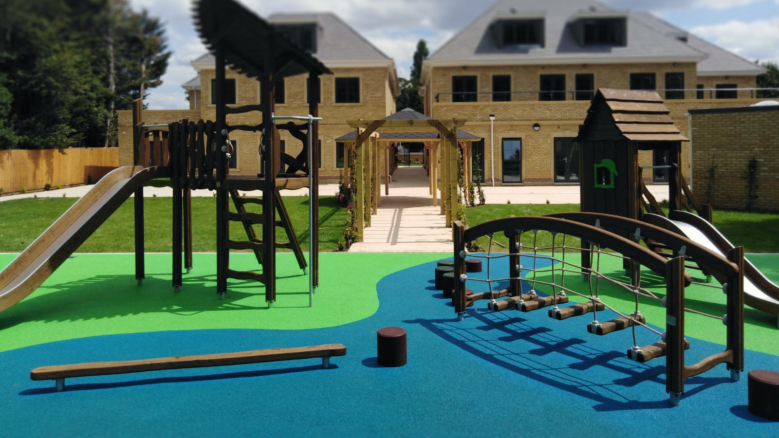 rubber playground flooring green and blue