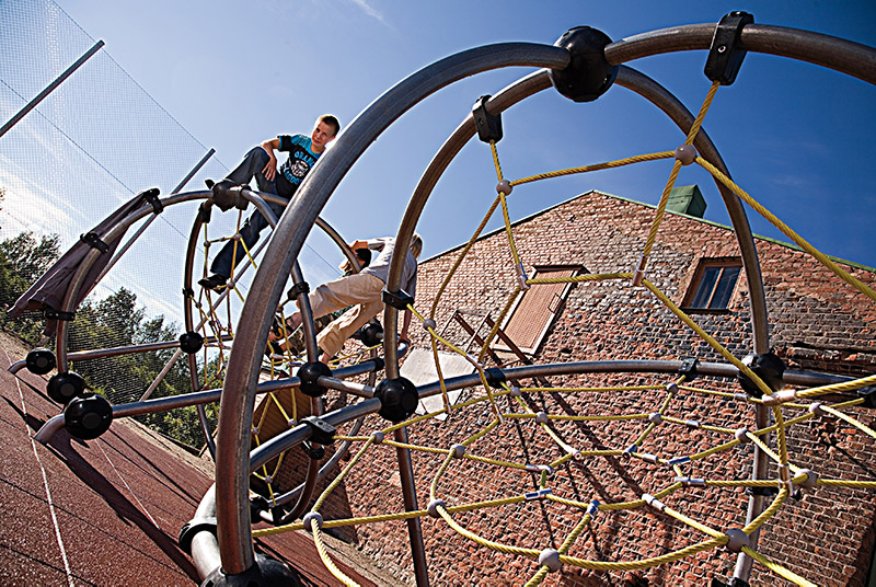 steel and rope climbing frame