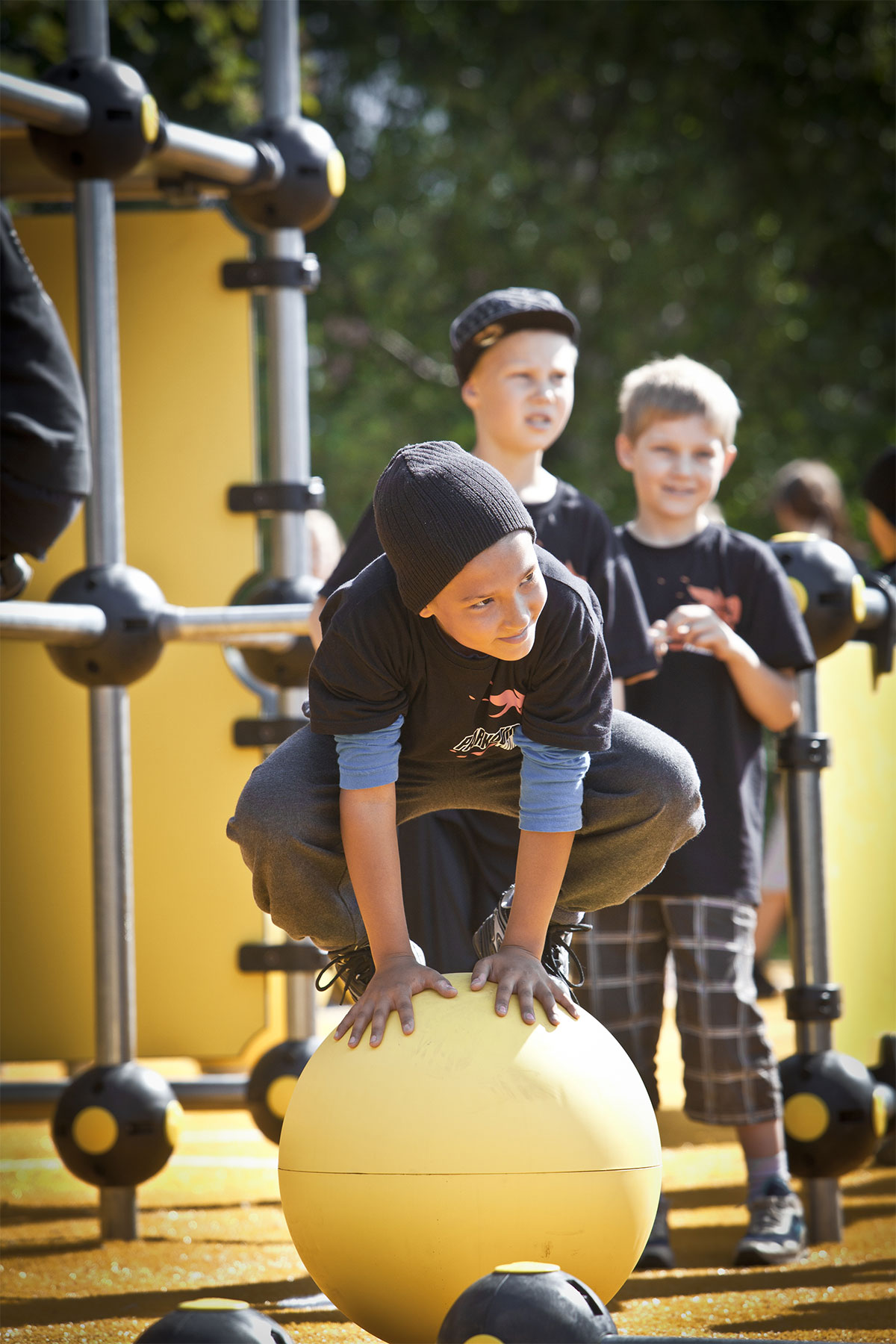 yellow balancing ball