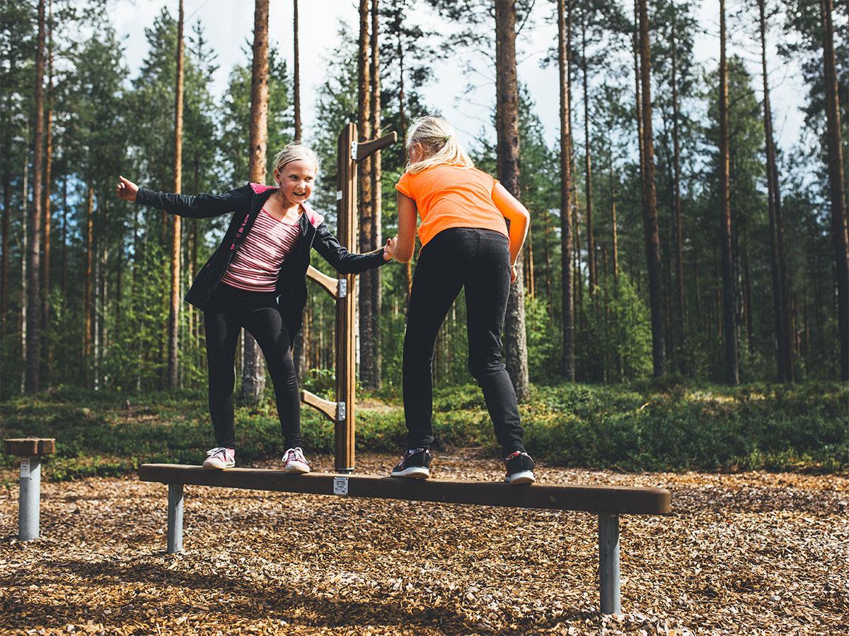 Trim Trail balancing equipment in park