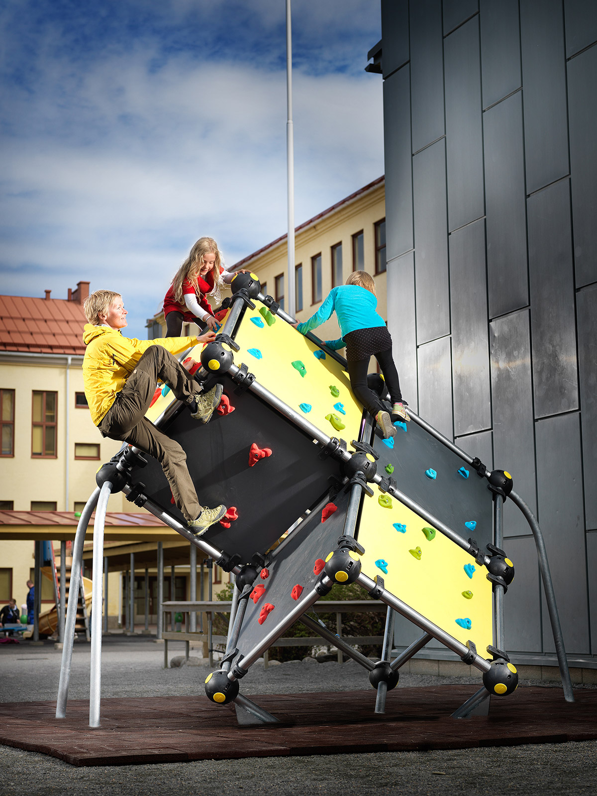 large bouldering wall inner city outdoor space