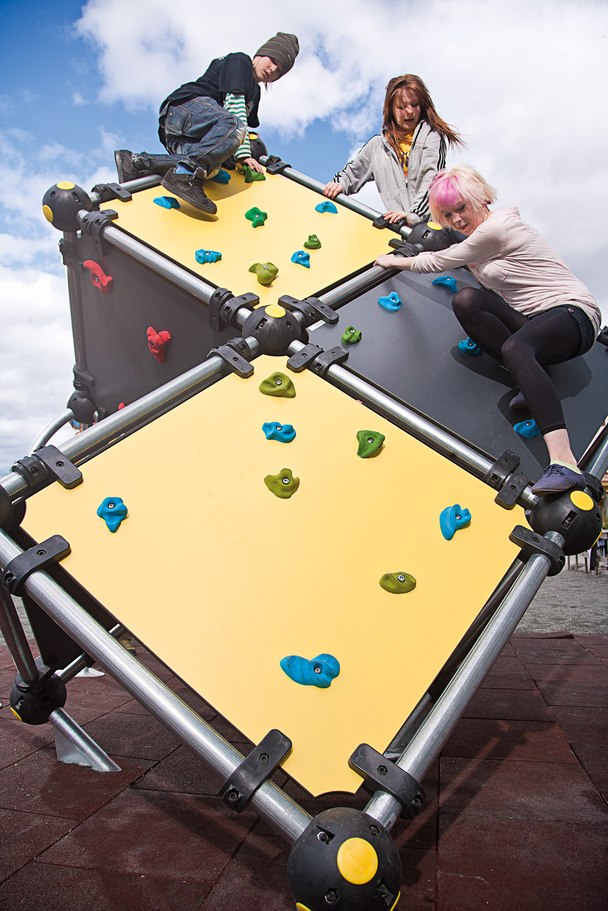 outdoor bouldering cubes in playground