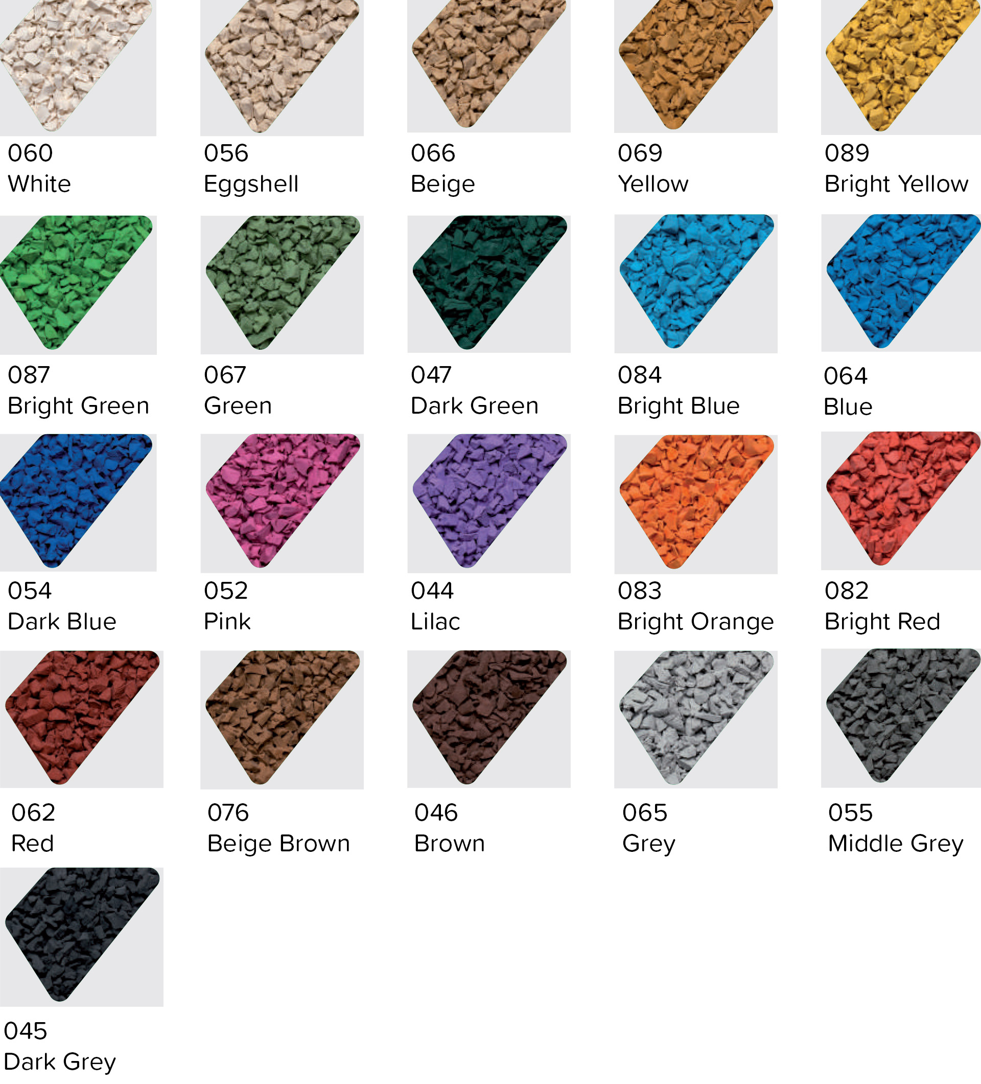 wet pour rubber colour chart