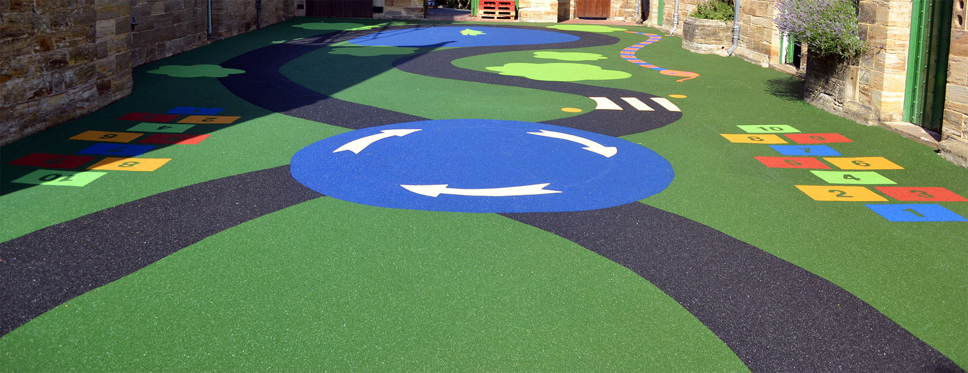 coloured wet pour rubber with graphics
