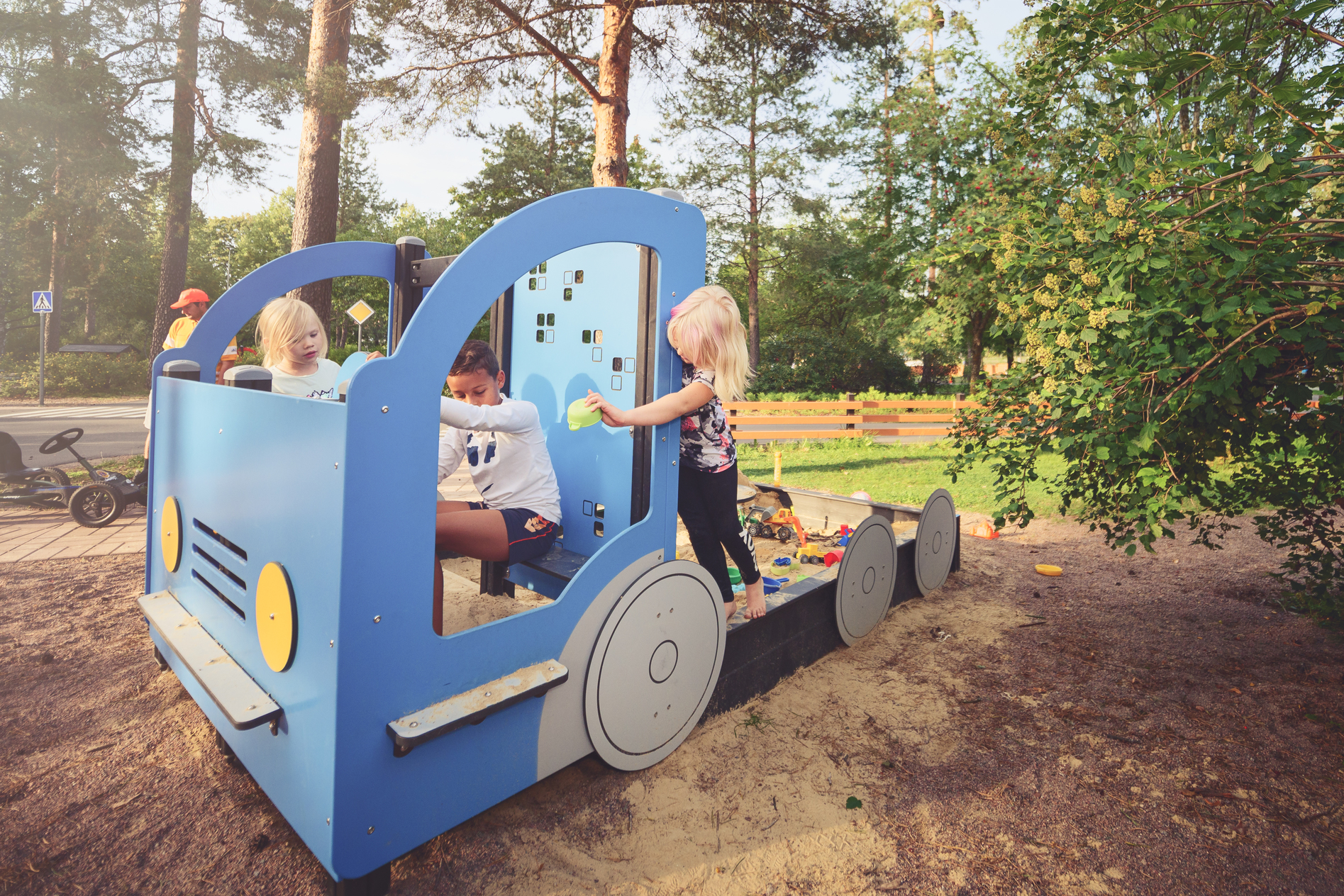 truck themed play sand pit