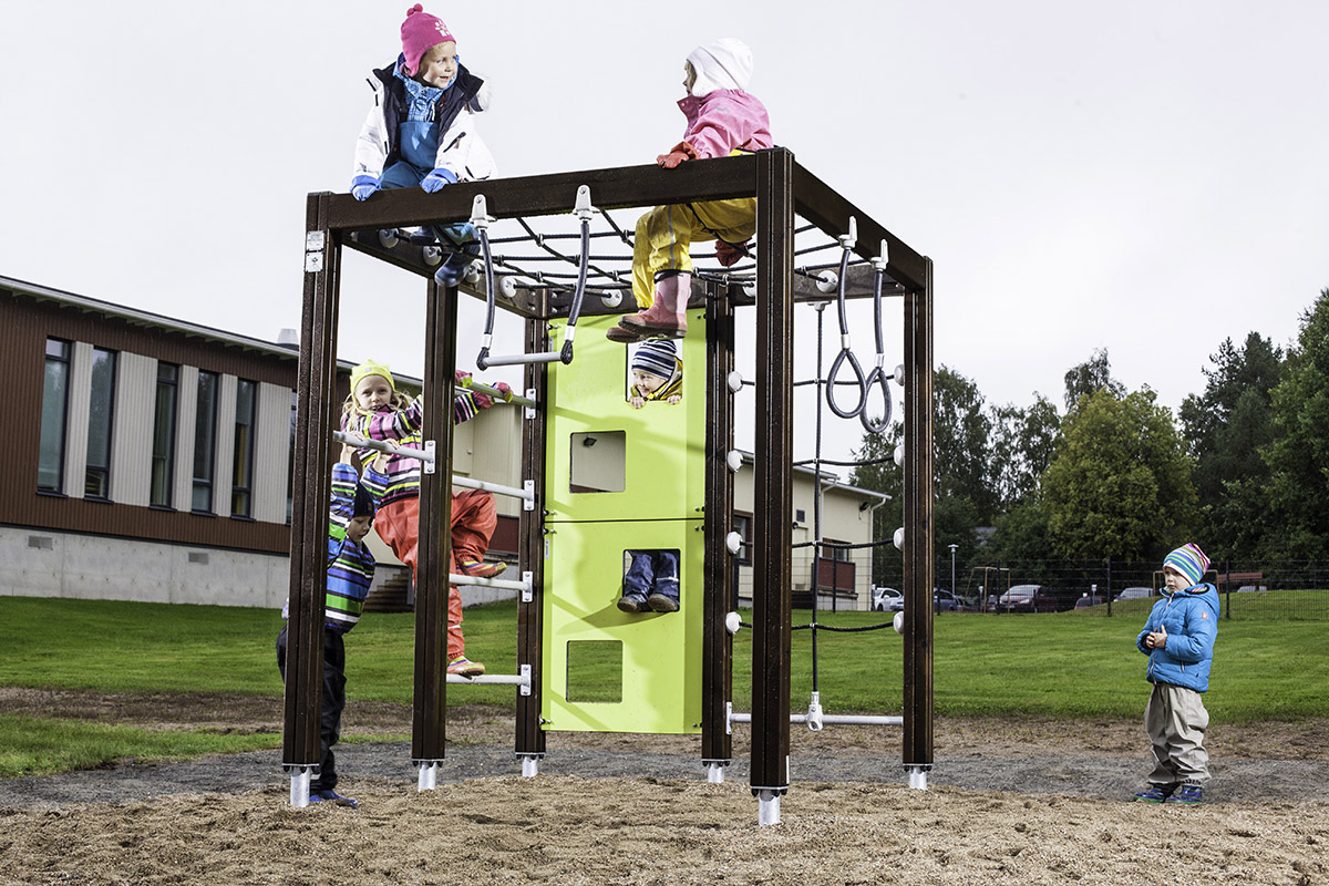 wood climbing cube in playground with children playing