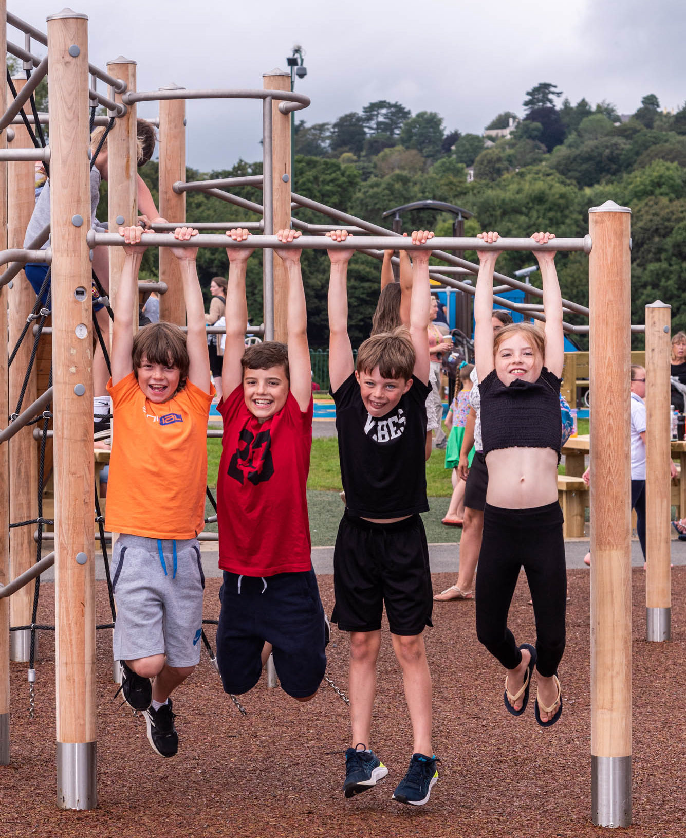 hard wood climbing frame with stainless steel bars